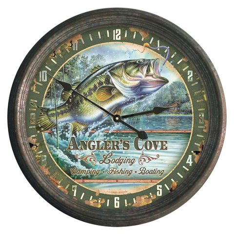 Anglers Cove Bass Fishing Wall Clock