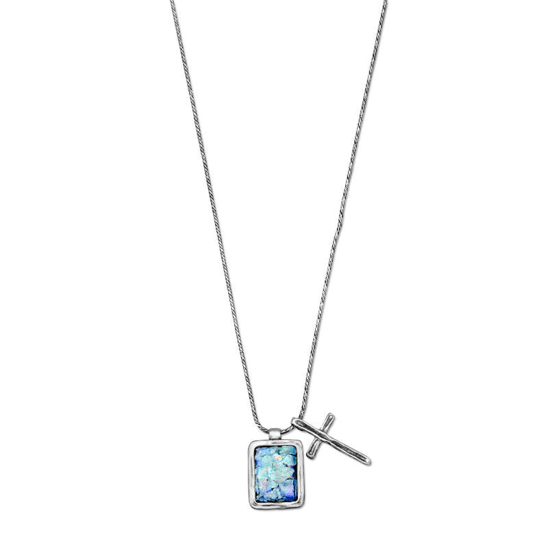 Ancient Roman Glass and Cross Charm Necklace 34043