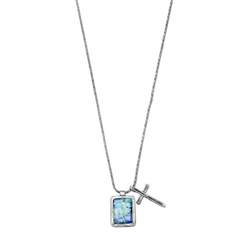 Ancient Roman Glass and Cross Charm Necklace