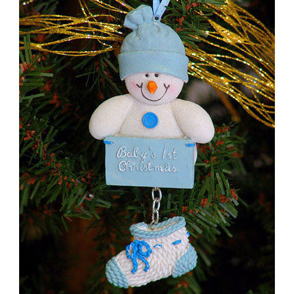 Baby's First Christmas Ornament Snowman Blue 1409510