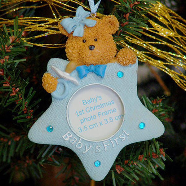 Baby's First Christmas Teddy Bear Star Ornament Blue 1409520STARBLUE
