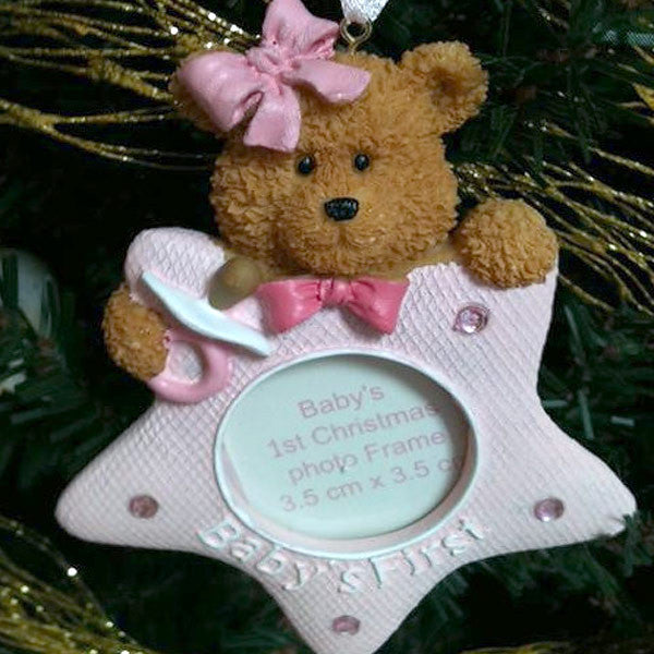 Baby's First Christmas Teddy Bear Star Ornament Pink 1409520STARPINK