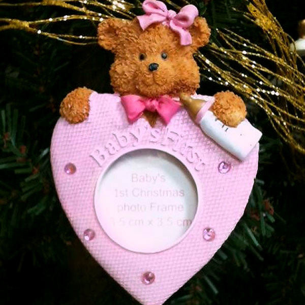 Baby's First Christmas Teddy Bear Ornament Pink 1409520