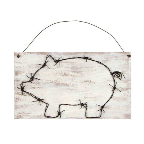 Barbed Wire Pig Silhouette Art