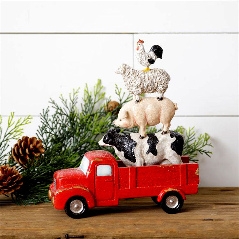 Barnyard Animal Stack in Red Truck 7RS1885