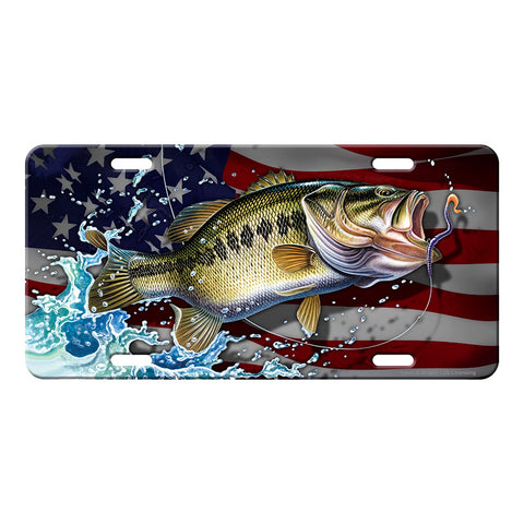 Bass Fishing American Flag Vanity License Plate