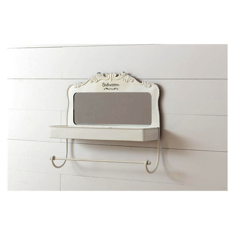 Bathroom Shelf with Mirror and Towel Bar 8WH828