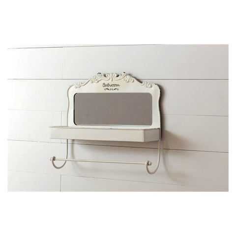 Bathroom Shelf with Mirror and Towel Bar
