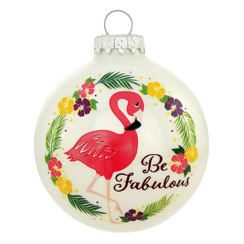 Be Fabulous Pink Flamingo Glass Ornament