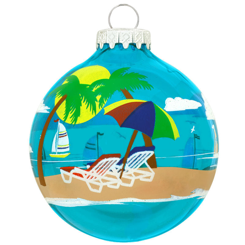 Beach Chairs Scene Glass Ornament 1174217