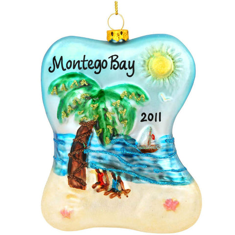 Beach Scene Glass Ornament