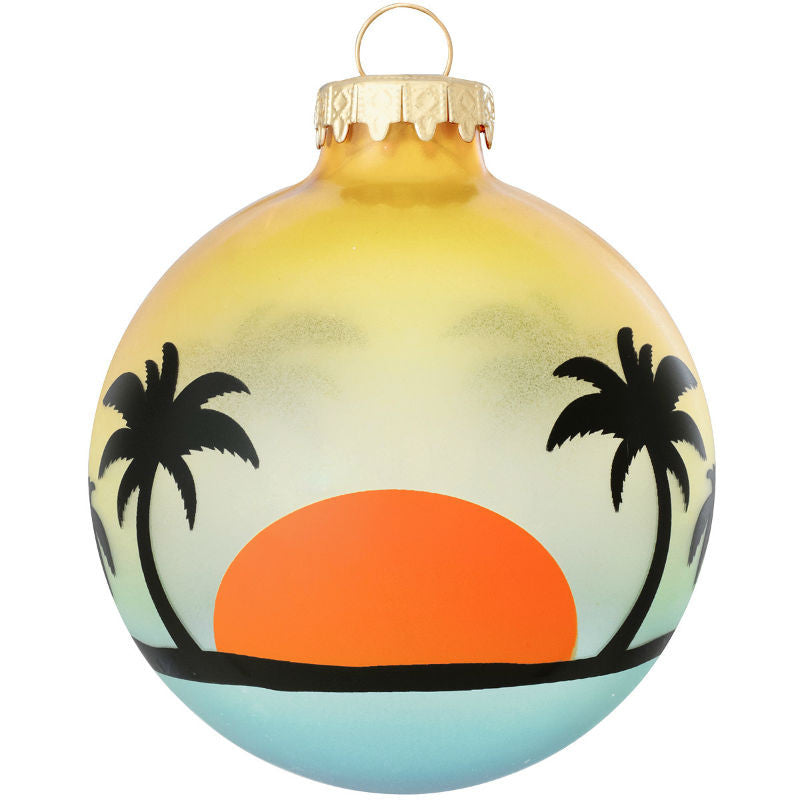 Beach Silhouette Glass Ornament 1166290