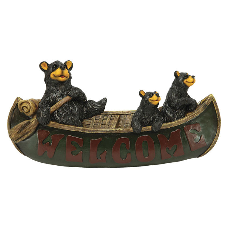 Bears In A Canoe Welcome Sign 1368