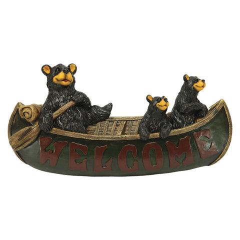 Bears In A Canoe Welcome Sign