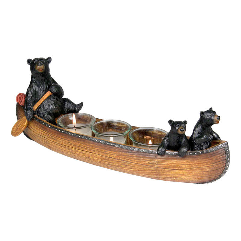 Bears in Canoe Candle Holder 692