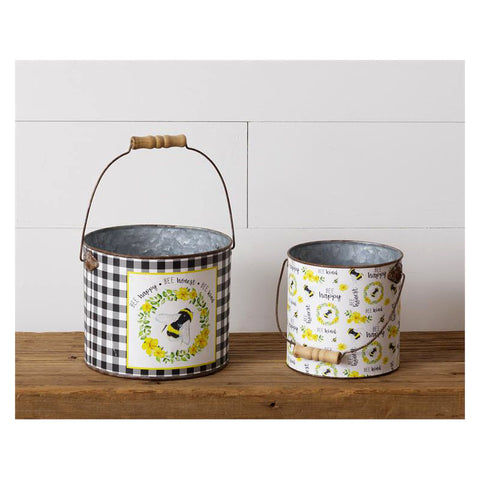 Bee Happy Honest & Kind Metal Buckets
