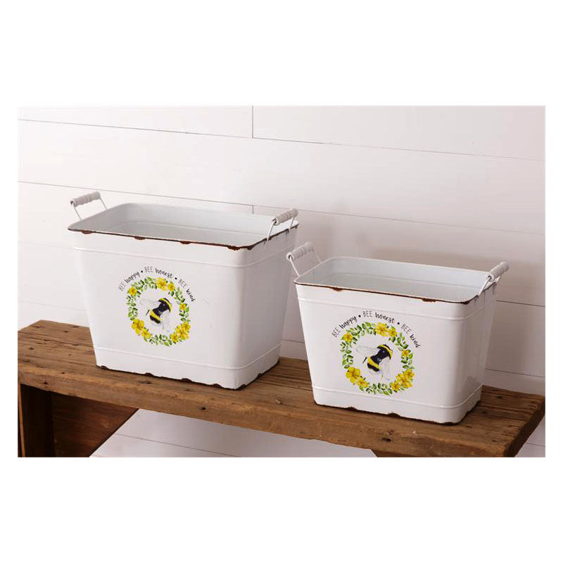 Bee Happy Honest & Kind Metal Nesting Bins 8T1701