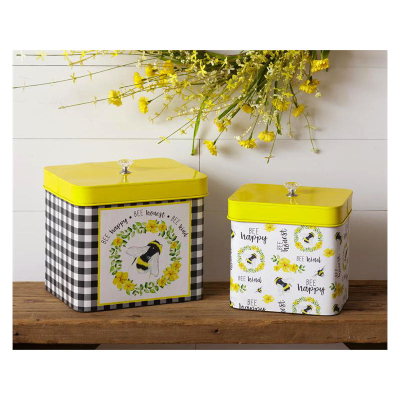 Bee Happy Honest & Kind Tin Snack Canisters 8T1731