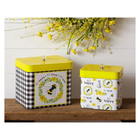 Bee Happy Honest & Kind Tin Snack Canisters