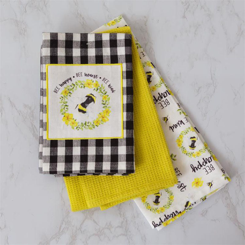 Bee Happy Honest & Kind Kitchen Tea Towels 8FA1083