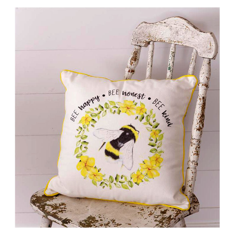 Bee Happy Honest & Kind Throw Pillow 8P5908