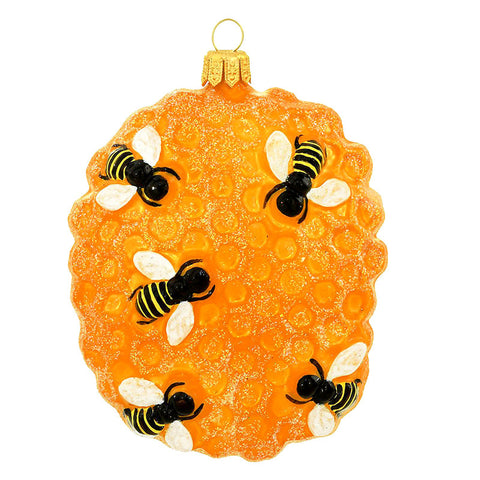 Bees On Honeycomb Glass Ornament