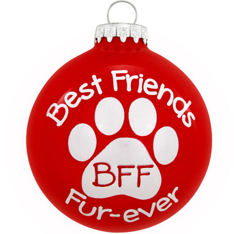 Best Friends Fur Ever Glass Dog Ornament