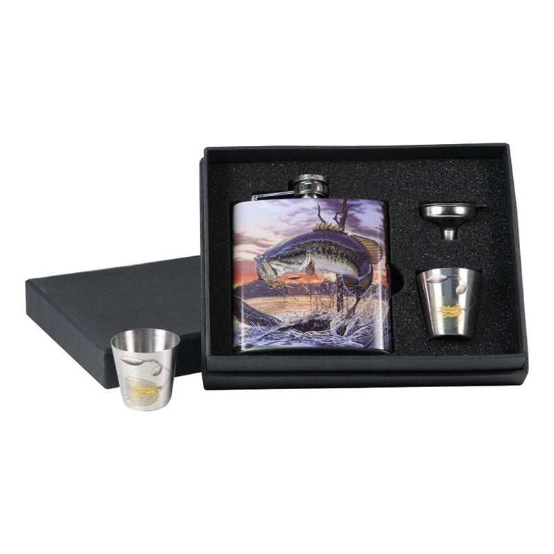 Big Mouth Bass Hip Flask & Shot Glass Gift Set 986