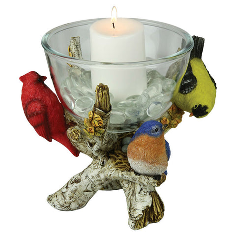 Birds Glass Candy Candle Dish
