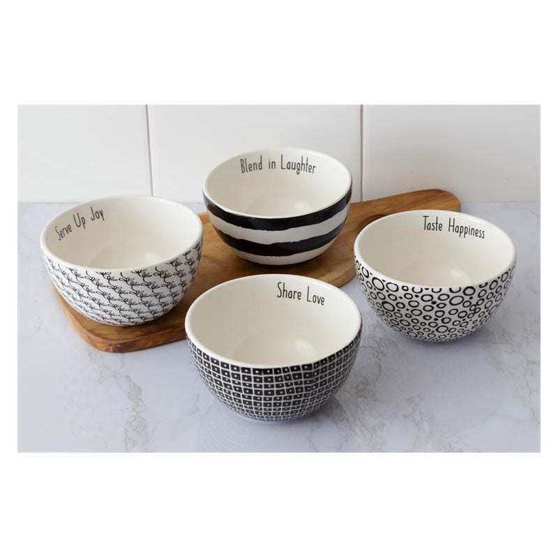Black and White Words Bowls 8PT1230