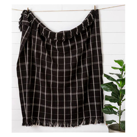 Black and White Window Pane Plaid Blanket Throw