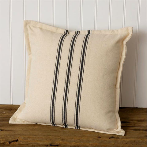 Black Striped Flour Sack Throw Pillow