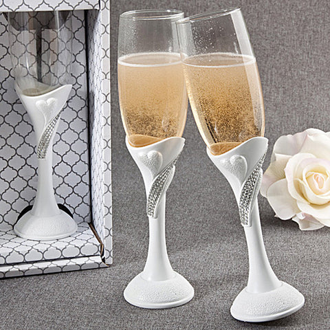 Bling Heart Wedding Day Toasting Flutes - Set of 2