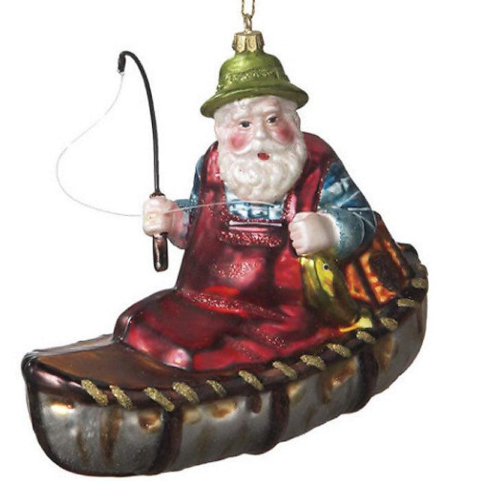 Blown Glass Santa In Canoe Christmas Ornament 52426