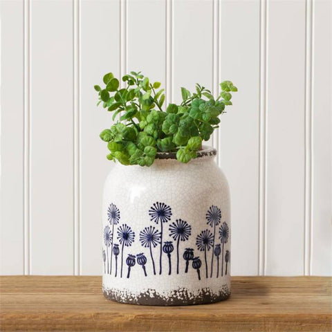 Blue Dandelion Large Pottery Planter