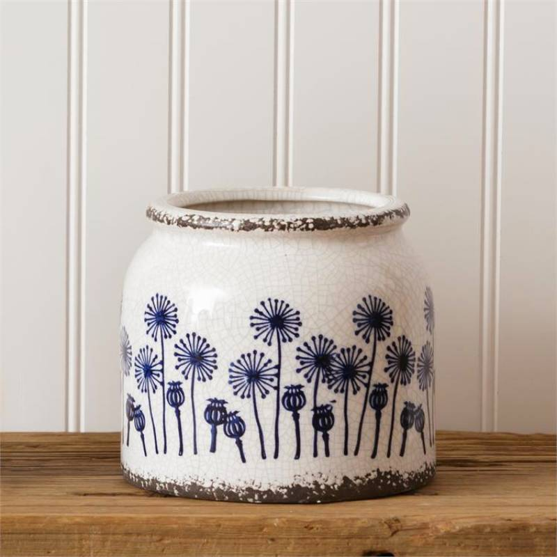 Blue Dandelion Small Pottery Planter 8PT1204