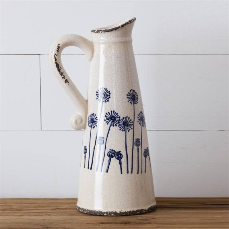 Blue Dandelion Tall Pottery Pitcher 8PT1219