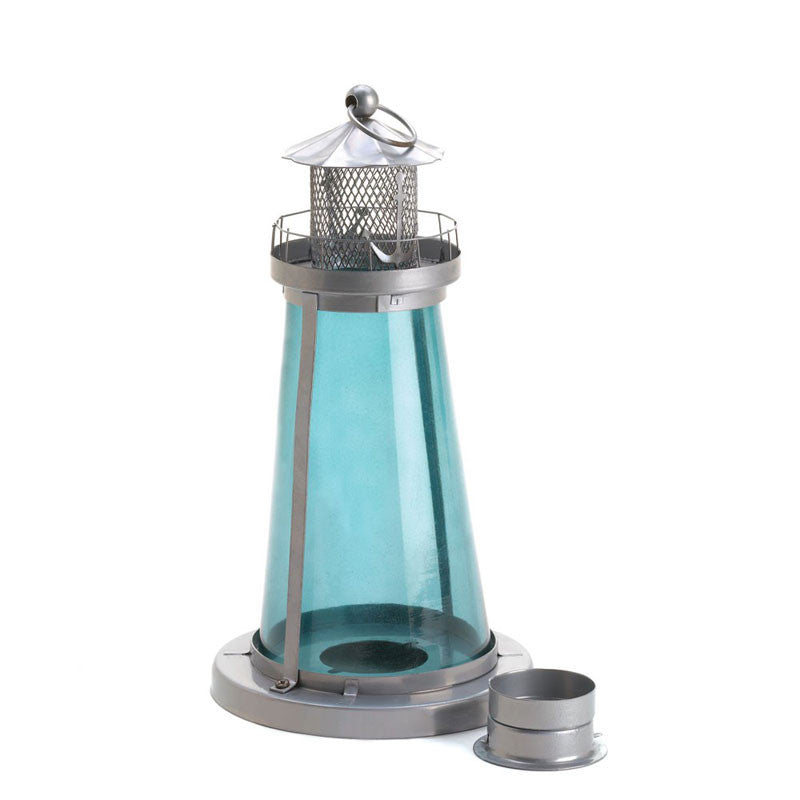 Blue Glass Lighthouse Candle Lamp 10015433