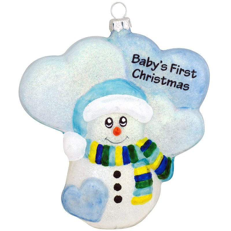 Blue Snowman Babys First Glass Christmas Ornament 1180259
