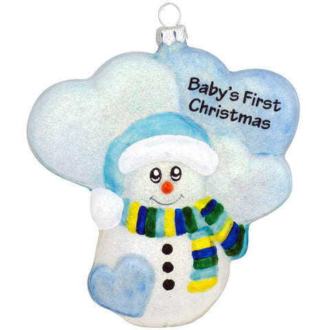 Blue Snowman Babys First Glass Christmas Ornament