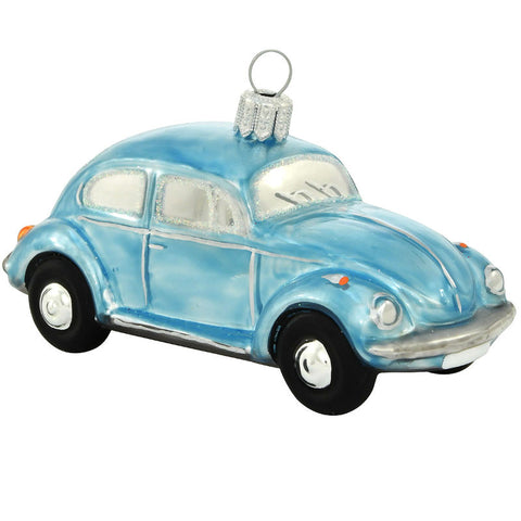 Blue VW Beetle Bug Glass Ornament