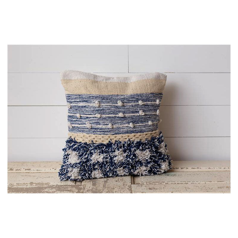 Blues Knotted Woven Throw Pillow 8P5941