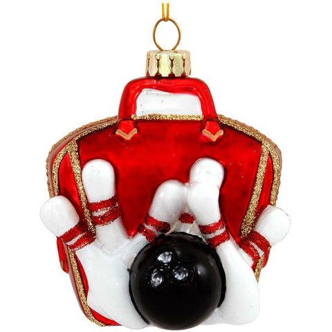 Bowling Ball Bag With Pins Glass Ornament