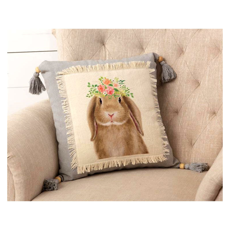 Bunny In Bloom Throw Pillow 5P5886