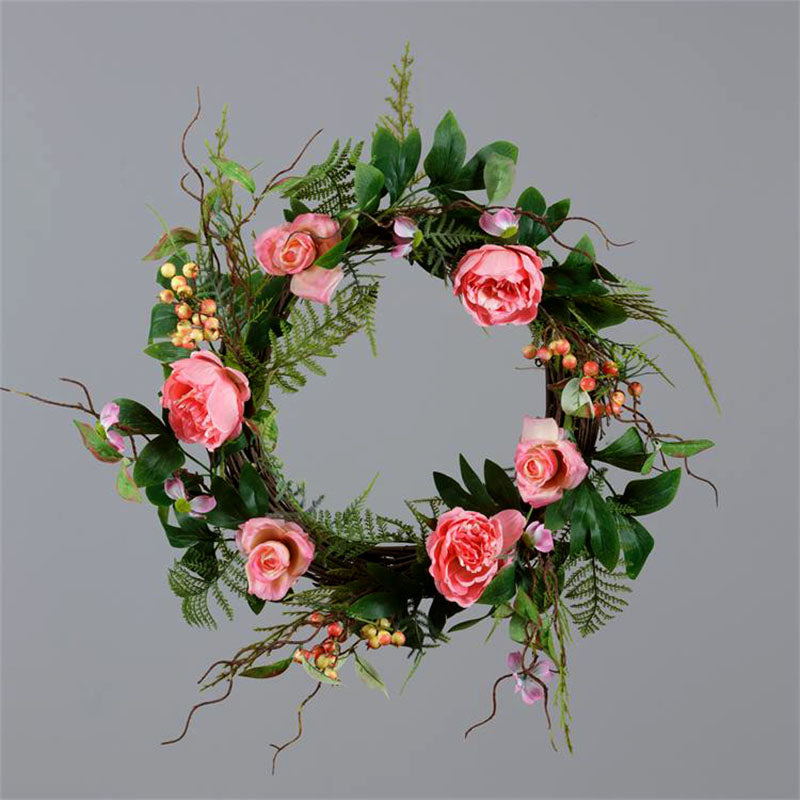 Cabbage Roses and Dogwood Wreath 8F6202