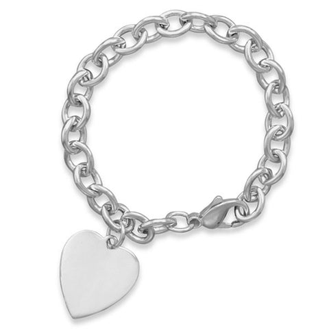 Cable Links Heart Charm Bracelet