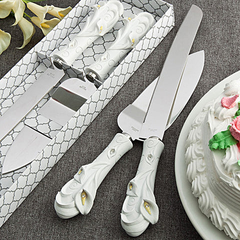 Calla Lily Cake Knife & Server Gift Set