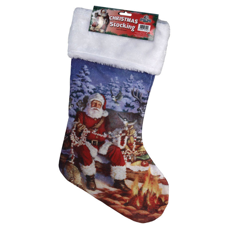 Campfire Santa Christmas Stocking 031