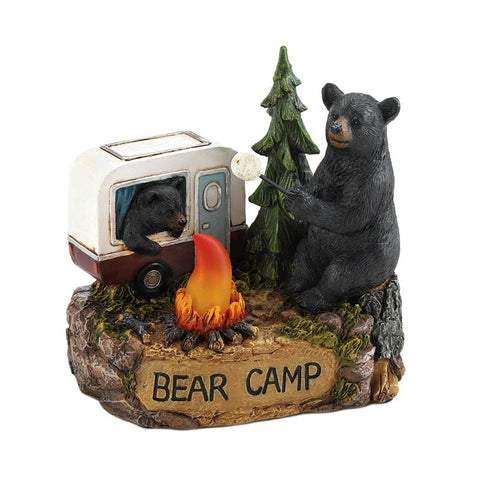Camping Bear Family Lighted Figurine