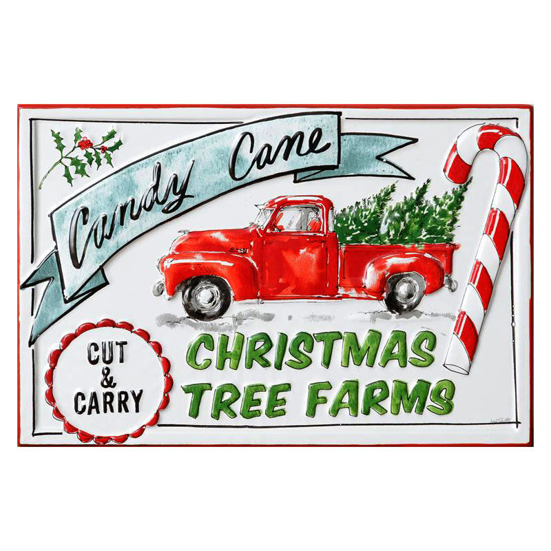 Candy Cane Christmas Tree Farms Enamel Sign 7T1931